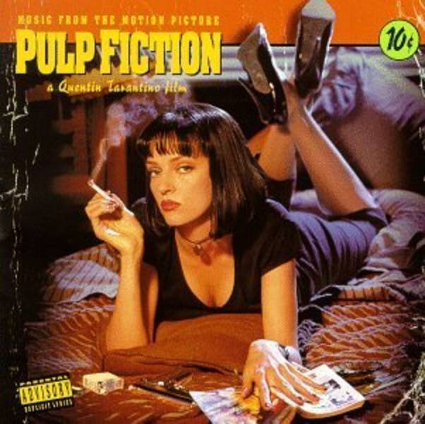 The iconic Pulp Fiction soundtreack cover has Uma Thurman laying on he stomach, facing us with an inscutable look, cigarette in her hand, trashy book in the other, and heeled shoes in the air.