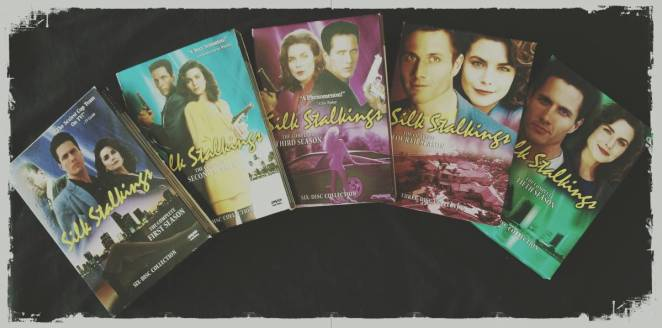 A spread of the first five DVD season sets of Silk Stalkings.