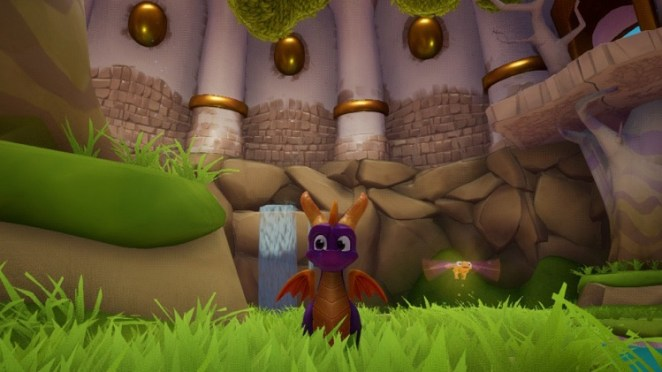 Spyro, the little purple dragon, and his yellow dragonfly companion enjoy the lush greenery and waterfalls.