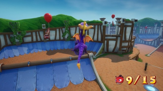 Spyro gets some serious air riding a skateboard high in the air trying to take out vermin, some of which are riding balloons.