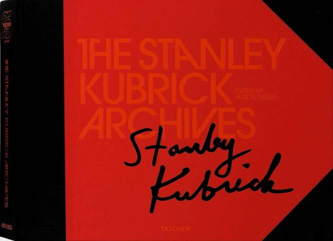 Large red Book cover of The Stanley Kubrick Archives featuring Kubrick's signature