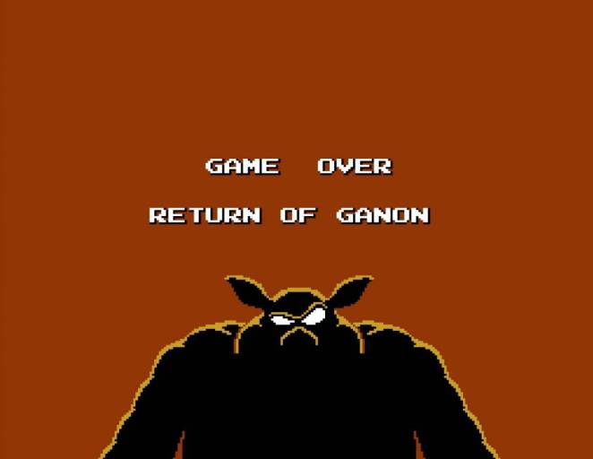 Game over screen. Image of Ganon laughing at you.