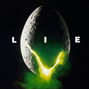 an alien egg glows neon yellow as it hatches