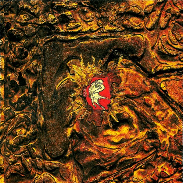 The cover image of dEUS' album Worst Case Scenario has a brown muddy vibe, with a red illustration in the center, with a white human character appearing to be fighting their way out.