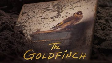 the goldfinch movie poster shows the painting of a bird covered in dirt