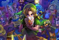 A splash page of the game's various characters, with Link holding a mask front and center
