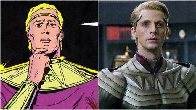 Side-by-side images of Adrian Veidt as Ozymandias in the comic and in the film.