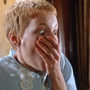 mia farrow as rosemary covering her mouth with horror