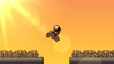 The game's protagonist, Brad Armstrong, rides a motorcycle into a burning sunset
