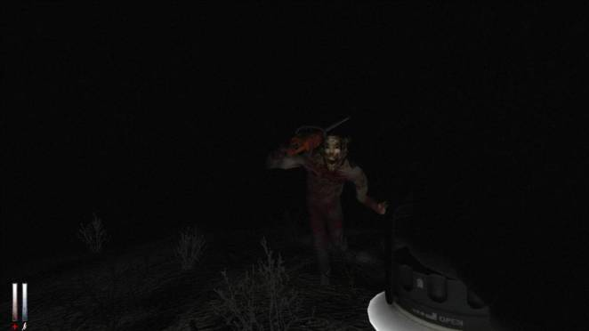 a man wielding a chainsaw in Cry of Fear