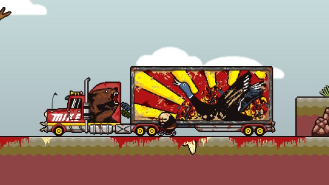 Brad Armstrong rides a bike near a truck decorated with animals while blood pools all around him.