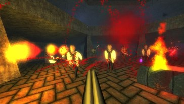A view of several enemies from DUSK being blown apart by the player's double barreled shotgun in an underground chamber setting,complete with torch braziers