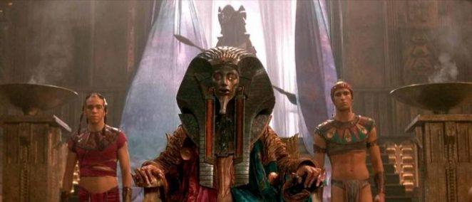The alien god Ra in Egyptian headdress.