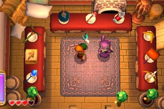 Link stands in Ravio's shop surrounded by the items you can buy and rent throughout the game