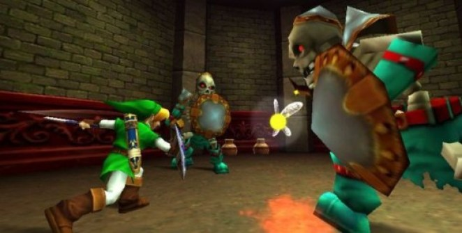 Link squares off against 2 Stalfos, skeletons with swords and shields