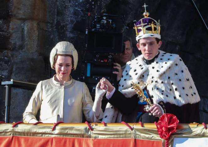 The Queen and Prince Charles at a ceremony