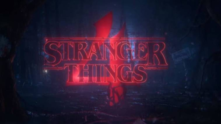 The Stranger Things logo appears on a dark background with a large number 4 behind it