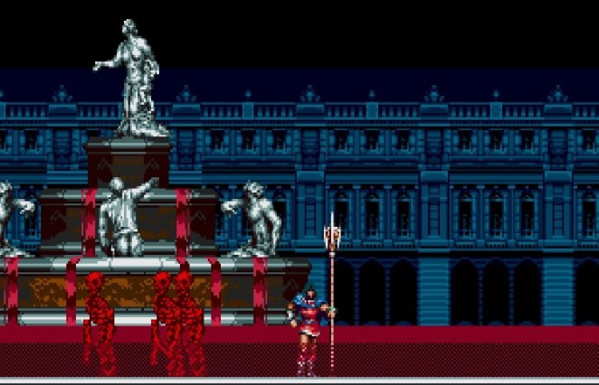 A giant fountain overflows with blood and red skeletons attack Eric