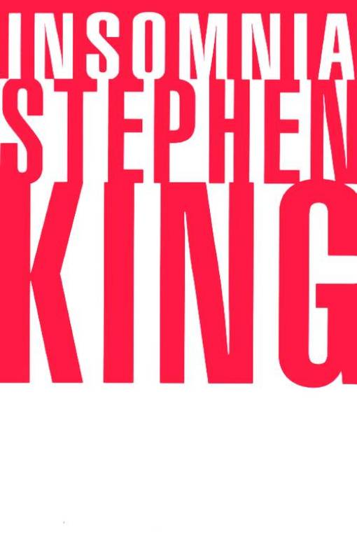 "The 1994 hardcover edition of Stephen King's insomnia had a red background with white letters for ""Insomnia,"" and a white background and larger red letters for the author's name."