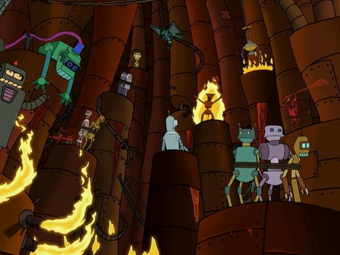 Bender surrounded by tortured robots being tied up and burned