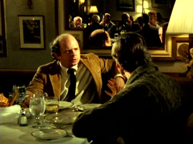 Wallace Shawn and Andre engange in heated conversation in My Dinner With Andre