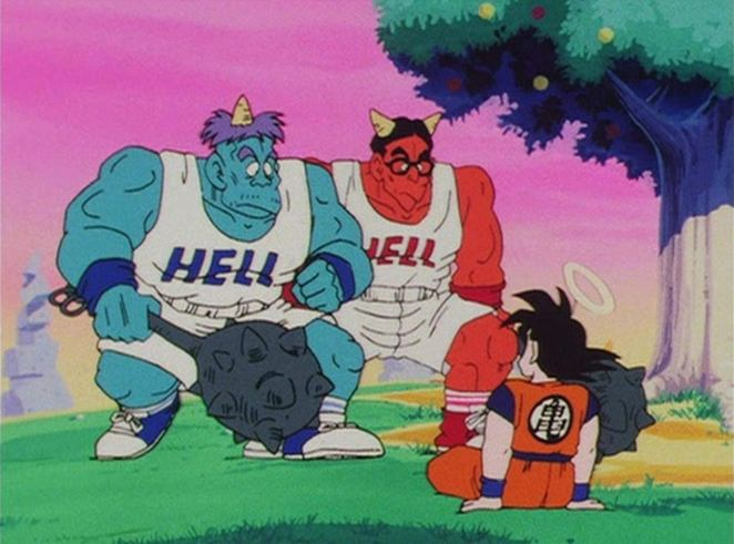 Goku sits in front of two demons in workout clothes