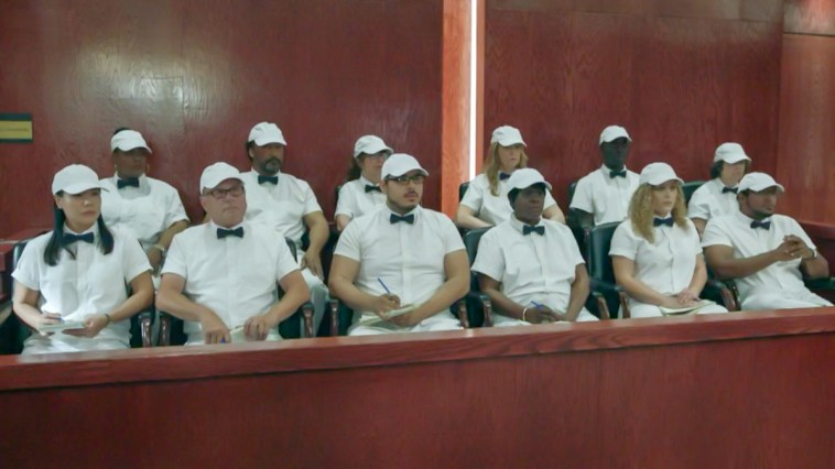 A jury sits in the stands, all dressed as ice cream men. [Mr. Mercedes S03E06]