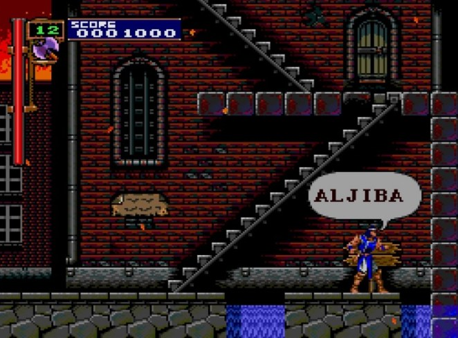 """Richter reads the sign out loud, saying, """"Aljiba"""", one of the towns from Simon's Quest. The familiar stairways and red brick facades recall memories of Castlevania II"""