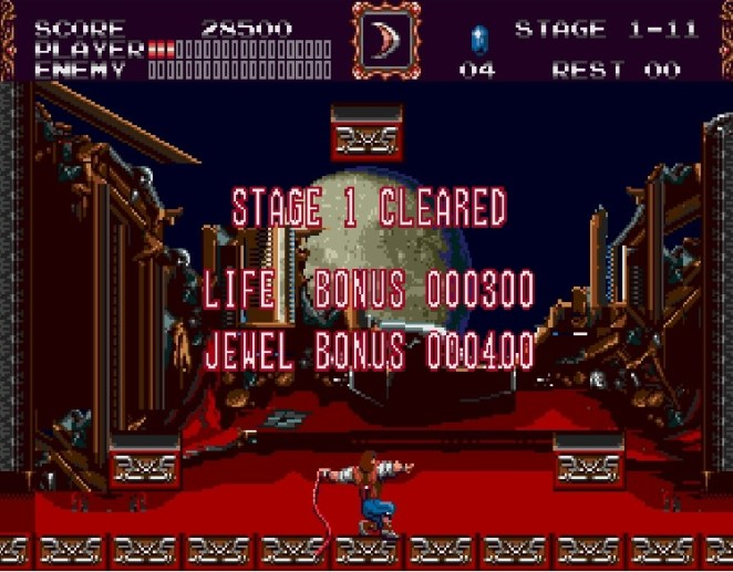 At the end of Stage 1, you score is tallied. The visuals and fonts have a very arcade game style with the emphasis on points.