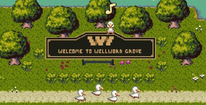 The Welcome To Wellworn Grove sign logo looks suspiciously like that of an HBO theme park.