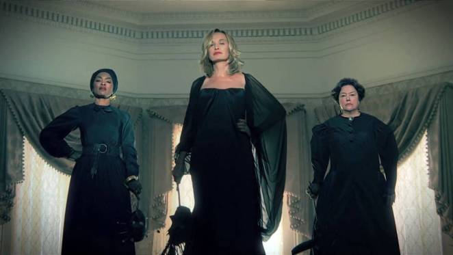 The Coven gathers at the school, Angela Bassett, Jessica Lange and Kathy Bates await the girls