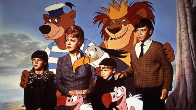 The gang gather with animated characters in Bed knobs and Broomsticks