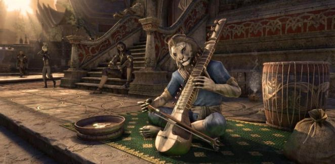 khajit character playing a string instrument
