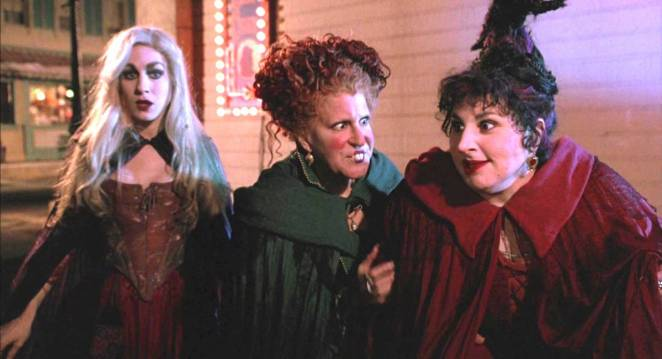 The Sanderson sisters Sarah Jessica Parker, Bette Midler and Kathy Najimy stalk the streets of Salem