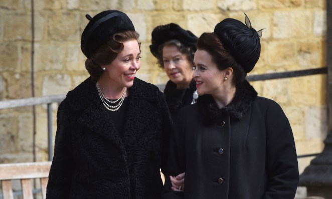Olivia and Helena behind the scenes of The Crown
