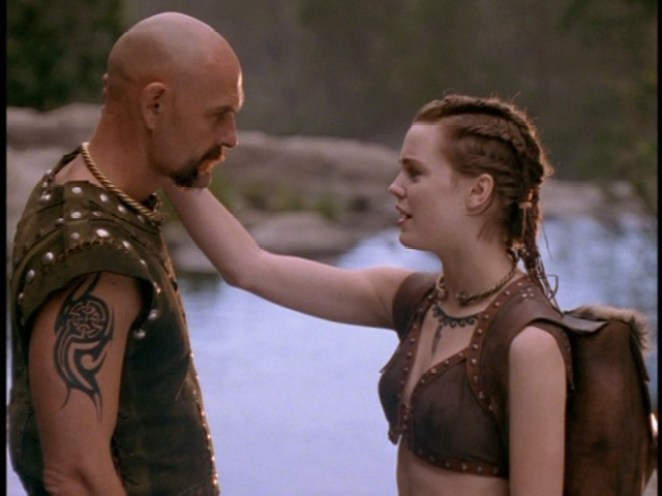 Fergus (John Saint Ryan) and Molly (Melissa George) reconnect in a scene from Roar