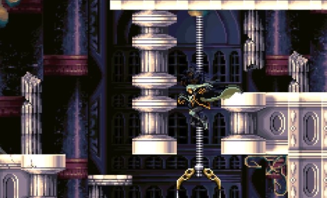 Alucard tries to use a broken elevator to reach a ledge, with no luck.