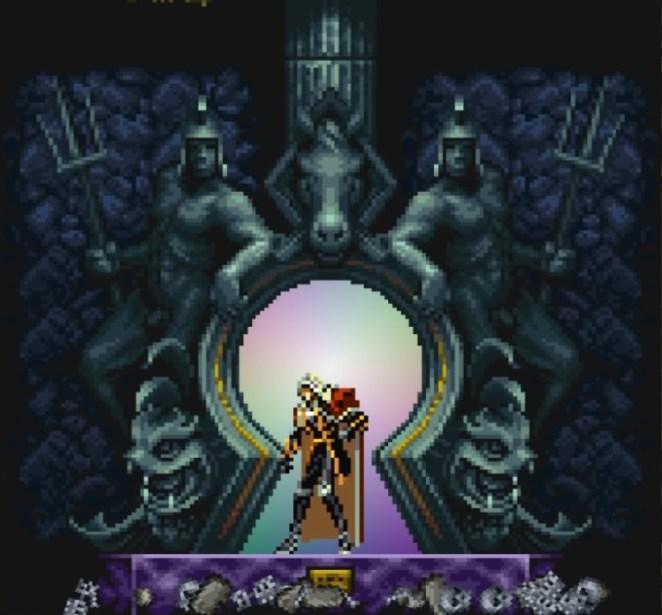 Alucard enters a giant keyhole that serves as a warp zone