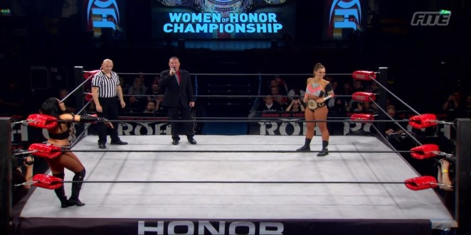 Mandy Leon and Kelly Klein prepare to battle for the ROH Woman's Championship