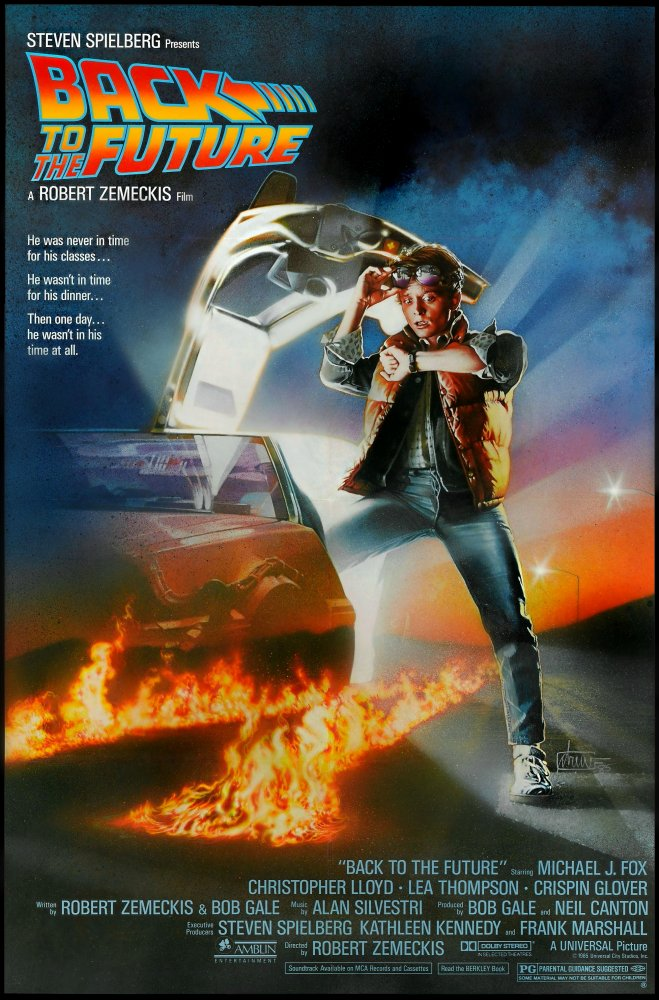 Marty McFly checks his watch while standing next to his Delorean on a long stretch of road
