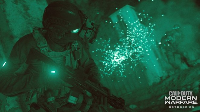 a soldier creeps through a building with gas mask and night vision goggles