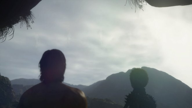 sam and fragile sky look over a mountain in the distance