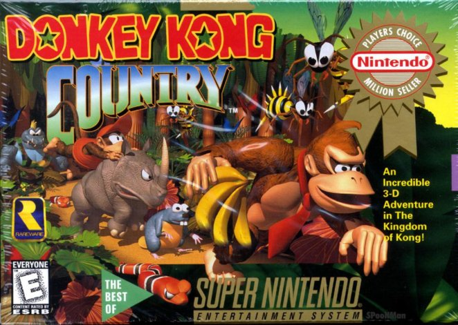 Donkey Kong leads the way down a jungle path, followed by all the helper animals that he can ride in the course of his adventure.