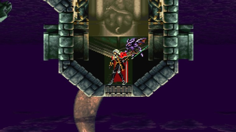 Vampire Alucard and his winged Demon familiar find themselves on the ceiling as the castle has inverted itself