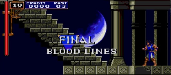 """Stage 8 is titled """"Final"""" with the subheading """"Bloodlines"""". A familiar looking concrete stairway under a cloudy moon is before you."""