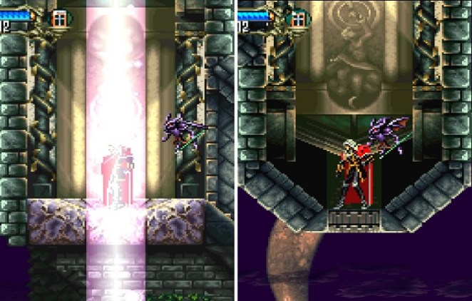 Alucard enters the light, and the castle flips upside down.