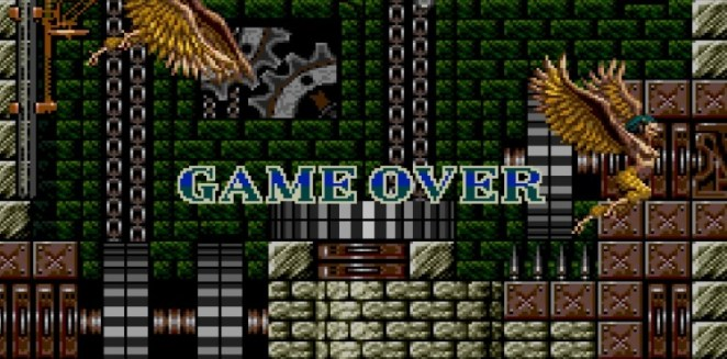 GAME OVER screen in Stage 7, the Clockwork area.