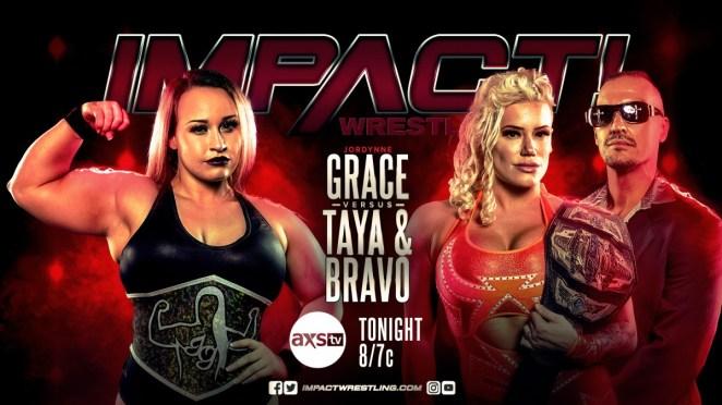 Impact Wrestline poster for Jordynne Grace vs Taya Valkyrie and John E. Bravo