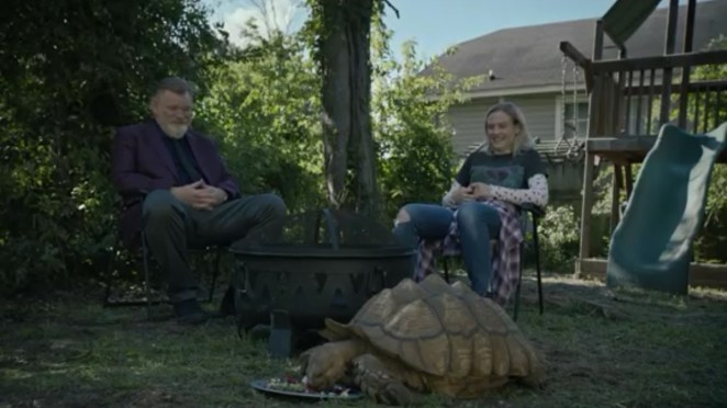 Mr Mercedes - Bill and Allie sit out in the back yard looking on as Fred the tortoise eats