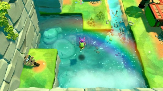 Yooka and Laylee swin in a small pond under a rainbow.